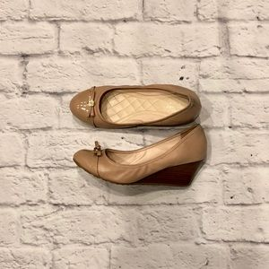 Cole Haan Nude Wedge with Patent Leather Toe